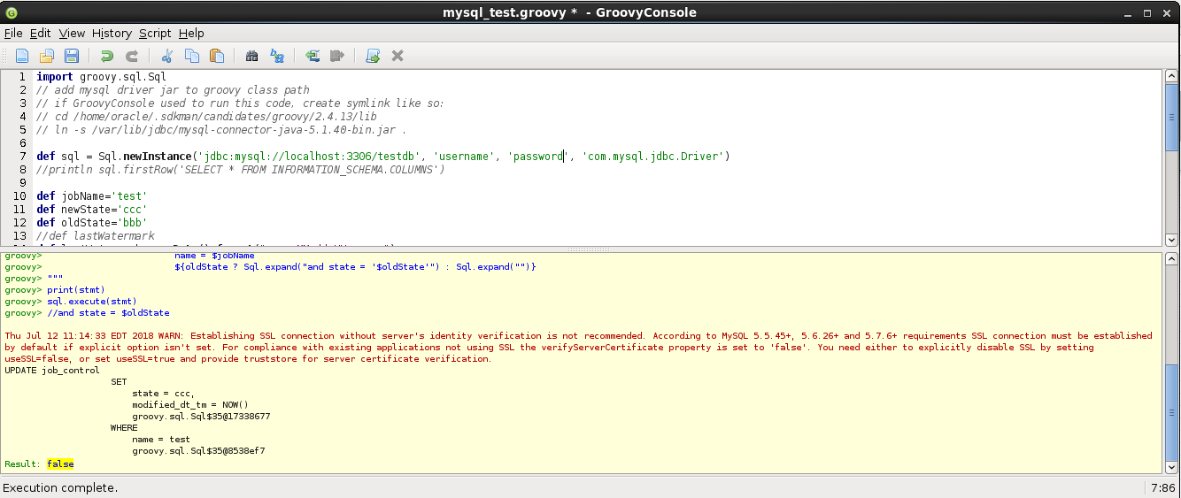 Dynamic SQL query with Groovy